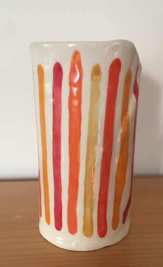 "Orange Stripes vase (12"" tall) $30"