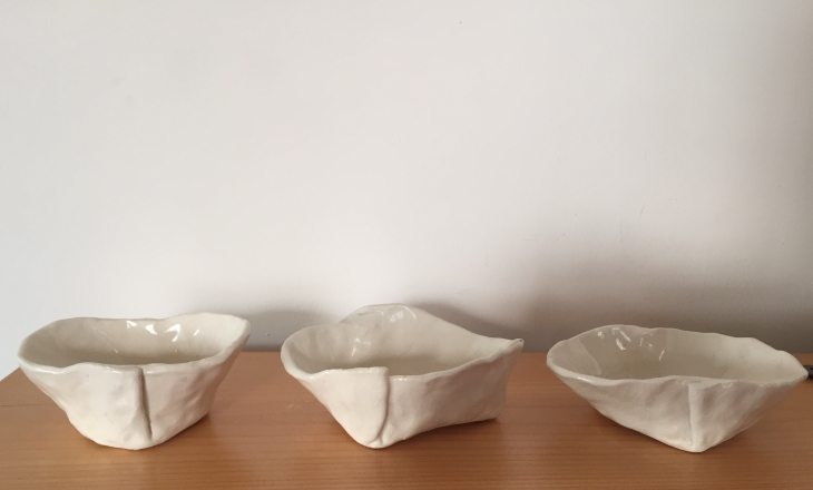 "Folded dishes ( 3"" x 4-5"") $16 each"